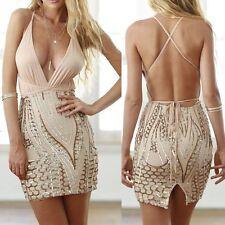 Abito Aperto ricamato Aderente Nudo Pailette Cerimonia Party Sequin Dress M