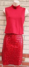 ASOS LONG NECK SLEEVE RED WINE SEQUINS BEADED RUFFLE PARTY XMAS BODYCON DRESS 16