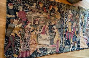 "antique vintage wall hanging Medieval Village Scene Wrought-iron Hardware 37x73"""