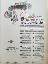 19390Chevrolet Motor Car Company Check Features in New Chevrolet Six Ad