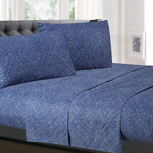 Parkview Blue Diamond Printed 4-Piece 1500 Supreme Collection Sheet Set