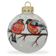 Red-breasted Black Bird Glass Ball Christmas Ornament 3.25 Inches