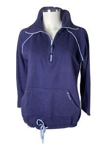 Horseware Ireland Size L Dark Blue ZipUp Cotton Sweater  Pouch Pocket Stud Cuff