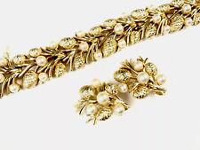 Vintage Gold Tone TRIFARI Faux Pearl Matching Bracelet Clip Earrings