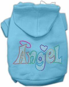 "16"" Technicolor Angel Rhinestone Pet Hoodie Dog Clothes X-Large, Baby Blue"