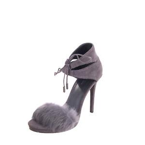 RRP €190 MICHAEL MICHAEL KORS Leather & Rabbit Fur Sandals EU39 UK6 US8.5 Heel