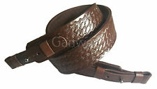Braided Design Brown Leather Rifle Sling Shotgun Air Gun Strap Hunting Shooting