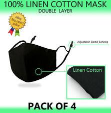 4Pcs 100% Linen Cotton Face Mask Double Layer Washable Reusable