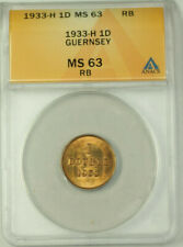 1933-H Guernsey Bronze 1 Double Coin ANACS MS 63 Red Brown