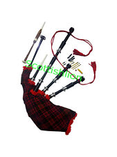 SL Scottish Great Highland Bagpipes Silver mounts MacDonald Tartan Free Chanter