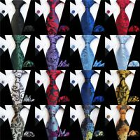Men's Tie Cufflinks Pocket Square Set Wedding Jacquard Woven Silk Necktie