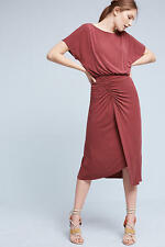 $158 ANTHROPOLOGIE Etta Ruched Midi Dress  new with tag size M