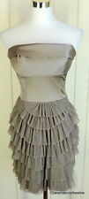 BCBG MAXAZRIA 2 Taupe Gray Sexy Strapless Cocktail Party Dress Bust Stay Up Band