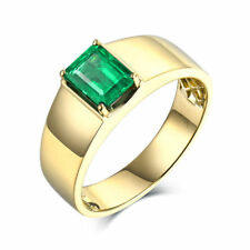 22K Solid Yellow Gold Natural Emerald Gem Stone Men's Jewelry Ring