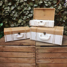 White Natural Rustic Wooden Suitcase Wedding Display Home Storage Box Shop Prop