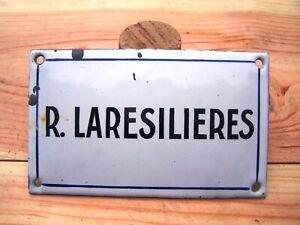 plaque tole ancienne porcelaine émaillée R.LARESILIERES vintage rue place avenue