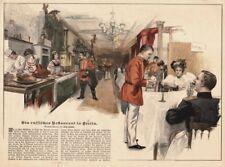Berlín, ruso restaurante, samovar, original-farbholzstich de aprox. 1890