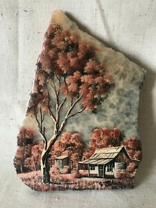 Hand Painted On Chilago Marble House Homestead Australian Outback Scene G Johns