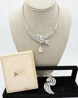 Vintage Jewelry Lot Crown Trifari Rhinestone Necklace Brooch Set Coro Art Deco