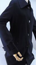 GALLERY Women's Stylish Black Lined TRENCH COAT Size Medium Overcoat