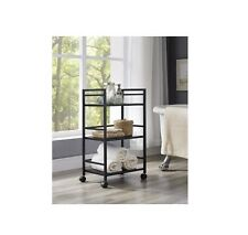 Utility Cart With Wheels 3 Tier Kitchen Rolling Mini Bar Shelves Metal Modern