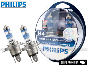 NEW! H4 PHILIPS Racing Vision +150% 12342RVS2 Halogen Headlight bulbs (Set of 2)