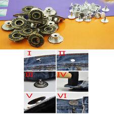20 pcs 8.5 x 17mm Press/Hammer On Bronze Dark Brass Denim Jeans Buttons & Pins