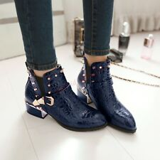 Retro Punk Womens Pointed Toe Belt Spikes Buckle Shoes Fashion Hot Ankle Boots