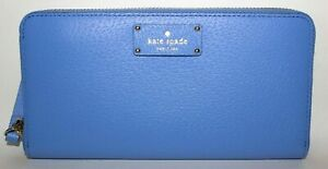 NEW KATE SPADE NEW YORK- WELLESLEY LEATHER WALLET: ALICE BLUE/ GOLD