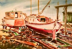 """Rudolph J. Schmidt  Original Water Color Painting """" Dry Docked Boats """""""