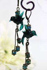 Glass Jewels Bronze Ohrringe Ohrhänger Lampwork Petrol Vintage Romantisch #I039