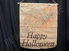 Pottery Barn Happy Halloween Autumn Harvest Fall Pumpkin Banner Flag Hang Burlap
