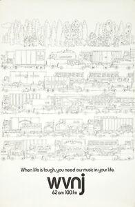 Original Vintage Poster WVNJ Traffic Radio Marciuliano Car Automobile Cartoon