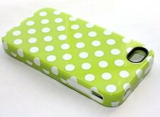 iPHONE 4 4G 4S - HARD & SOFT RUBBER DUAL HYBRID ARMOR CASE LIME GREEN POLKA DOTS