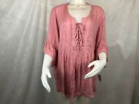 Style & Co 3/4 Bell Sleeve Blouse Pink Women's Plus Size 2X New with Tags }