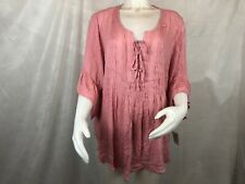 Style&co. Plus Size 2x Pink Blouse Womens Pintucked Ruffled Peasant Top L29