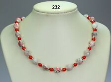 "Red black grey striped glass bead necklace, agate,Tibetan silver spacers 20""+2"