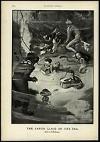 Santa Claus giving gifts under the sea fantasy mermaids 1900 Harper's Weekly