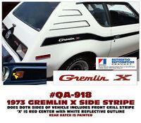 QA-918 1973 AMC - AMERICAN MOTORS - GREMLIN X -  SIDE and GRILL STRIPE DECAL