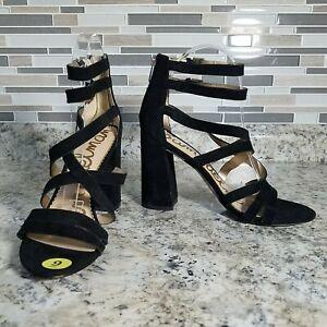Sam Edelman Strappy Heels 9 Shoe Block Suede Leather Gold Zipper Buckle