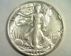 1945 WALKING LIBERTY HALF ABOUT UNCIRCULATED+ AU+ NICE ORIGINAL COIN BOBS COINS