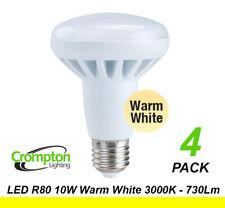 4 x LED 10W Reflector Light Globes Bulbs R80 Screw E27 Warm White 3000K 730Lm