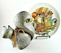 Vintage Silver Grey Squirrel Plate And Silver Ceramic Squirrel Figurine