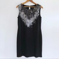 Nine West Women's Beaded Shift Dress Size 4 Abstract Feather Print Stretch Black