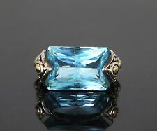 John Hardy Batu Sari 18K Yellow Gold Silver Emerald Cut Blue Topaz Cocktail Ring