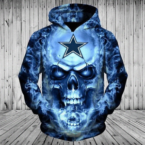 Dallas Cowboys Hoodies 3D Skull Smoke Pullover Sweatshirt