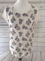 Ann Taylor Medium Short Sleeve Floral Cream White Blue Pink Top Shirt Women's
