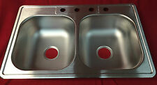 GLACIER BAY HDDB332274 Top Mount Stainless Steel 4-Hole Double Bowl Kitchen Sink