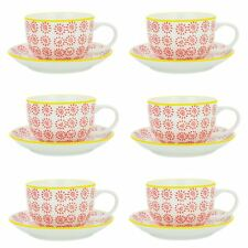Cappuccino Cups and Saucers Set Coffee Tea Porcelain 250ml - Red Yellow - x6