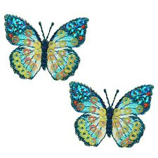 Expo Iron-On Embroidered Sequin Butterfly Applique Pk/2